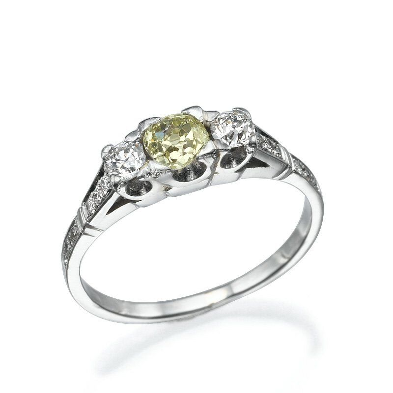 14K White Gold Ring With Center 038ct And 2 Stones 015ct And 12
