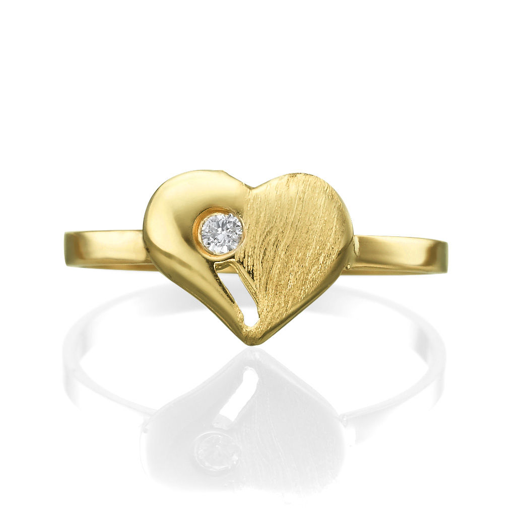 82d775710 14k Yellow Gold heart Ring with Diamond 0.02 Round VS G | Michael ...