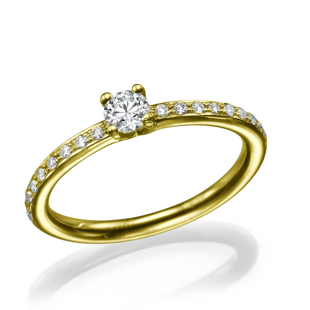 14k Yellow Gold Solitaire Ring The Center Diamond 0 2 Ct And 18 Diamonds 01