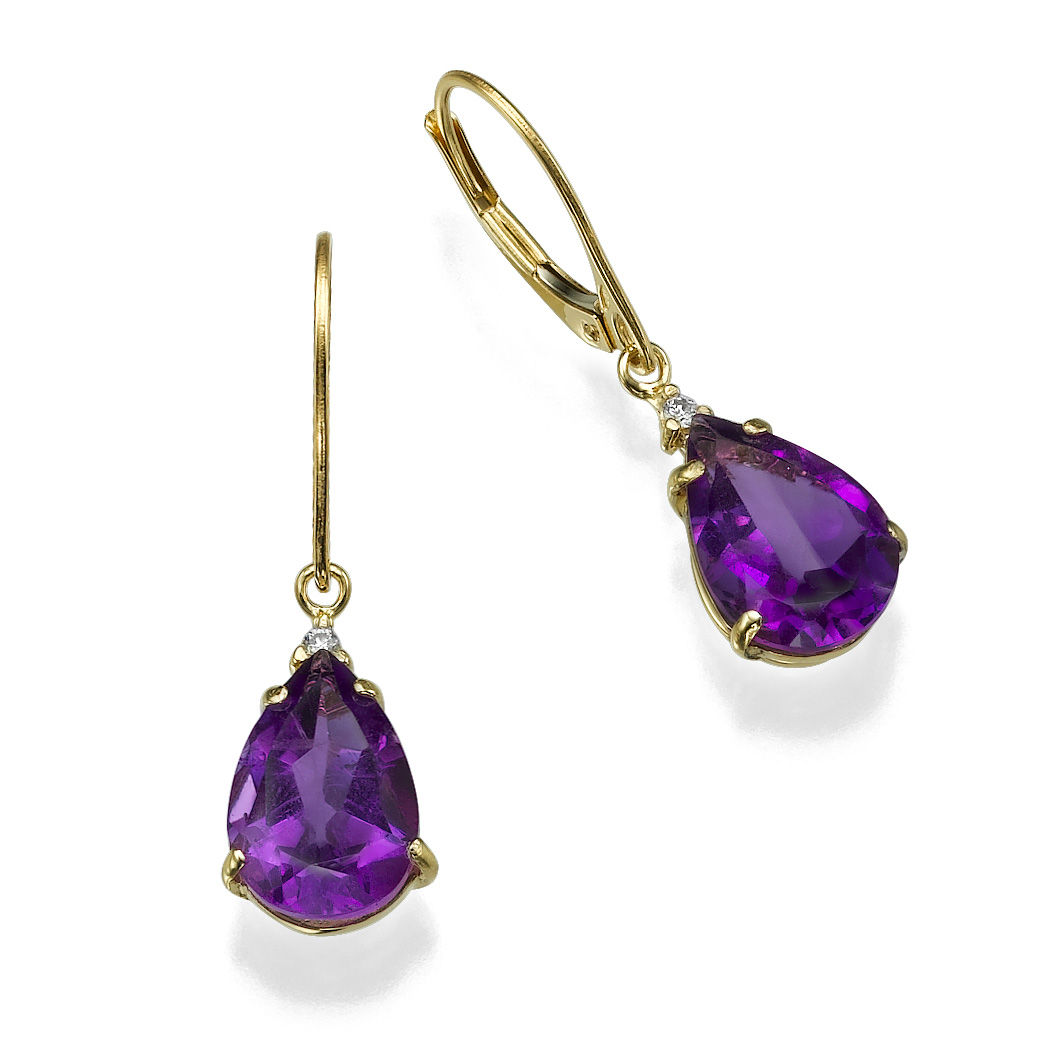 14k Yellow Gold Earrings With Amethyst 4 30 Pear Purple And Diamond 0 06 Tcw Round Vs G