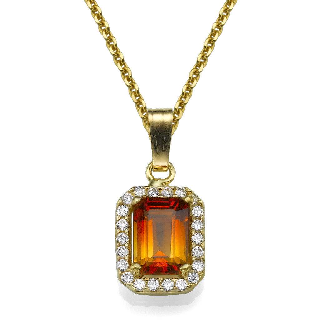 14k white gold pendant with citrine 15 emerald cut orange and 14k white gold pendant with citrine 15 emerald cut orange and diamond 011 tcw round vs aloadofball Images