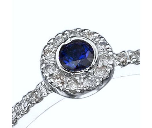 14K White Gold Ring With Center Sapphire 0.10 Ct And 23 Diamond TCW 0.115