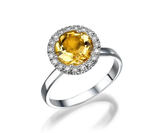 14k White Gold Ring with Citrine 1.75ct Round  yellow and Diamond 0.19ct round VS G