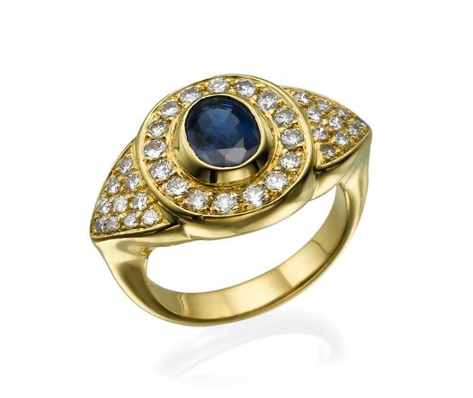18k Yellow Gold Ring with Sapphire 1 Oval AAA blue  and Diamond 0.52 TCW round VS G