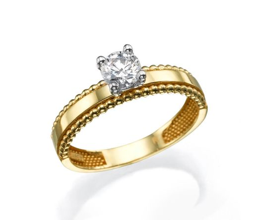 14K Yellow Gold Solitaire Ring Interlocked With White Gold, Inlaid With Diamond 0.5 Ct.
