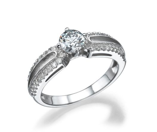 14k White Gold Ring with Diamond 0.51ct Round SI1 G and Diamond 0.22ct round VS G TWC 0.73ct