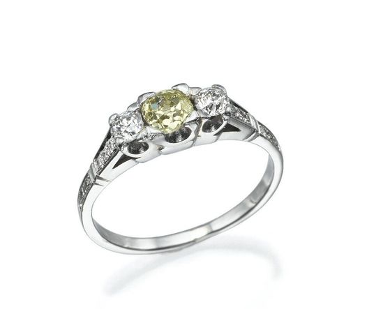 14K White Gold Ring With Center 0.38ct And 2 Stones 0.15ct And 12 Small Side Stone 0.01ct TCW 0.8ct