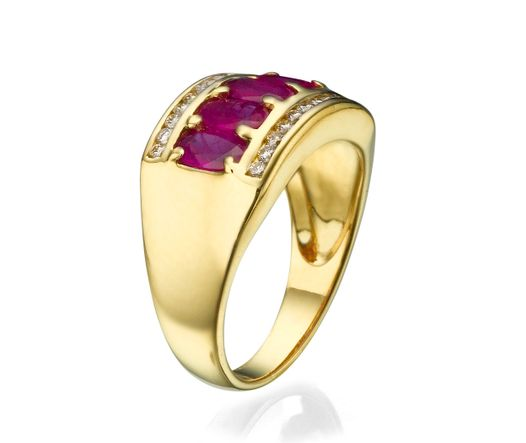 14K Yellow Gold Ring With 5 Oval Ruby And 24 Diamonds TCW 0.12