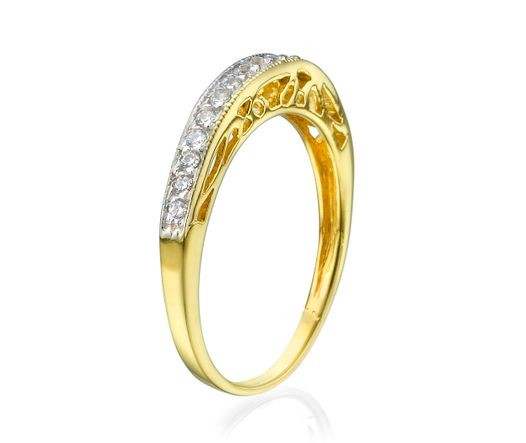 14K Yellow Gold Ring Inlaid with 17 diamonds 0.01 ct TCW 0.17