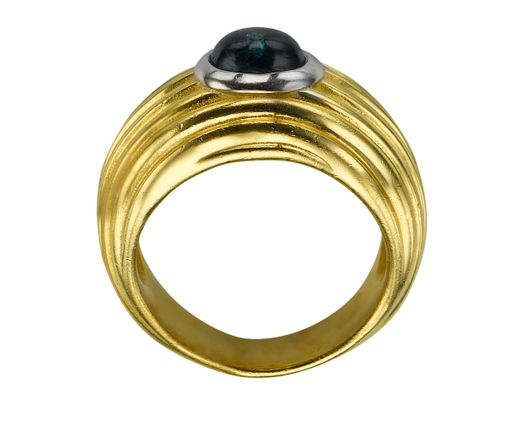 14k Yellow Gold Ring with Sapphire 1 Oval  blue