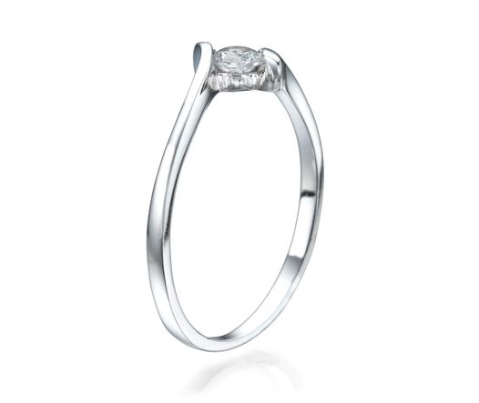 14K White Gold Ring Inlaid With Diamond 0.15 Ct Between two Bows