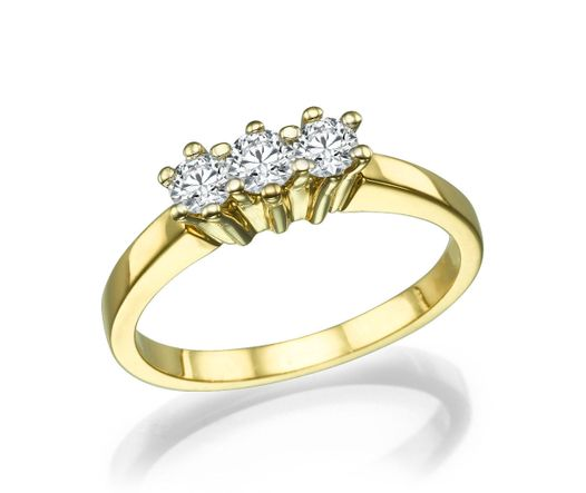 14K Yellow Gold Trio Ring Inlaid With 3 Diamonds TCW 0.45