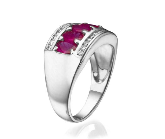 14K White Gold Ring With 5 Oval Ruby And 24 Diamonds TCW 0.12