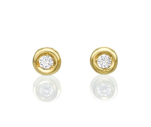 14k White Gold Earrings with Diamond 0.15 Round VS G