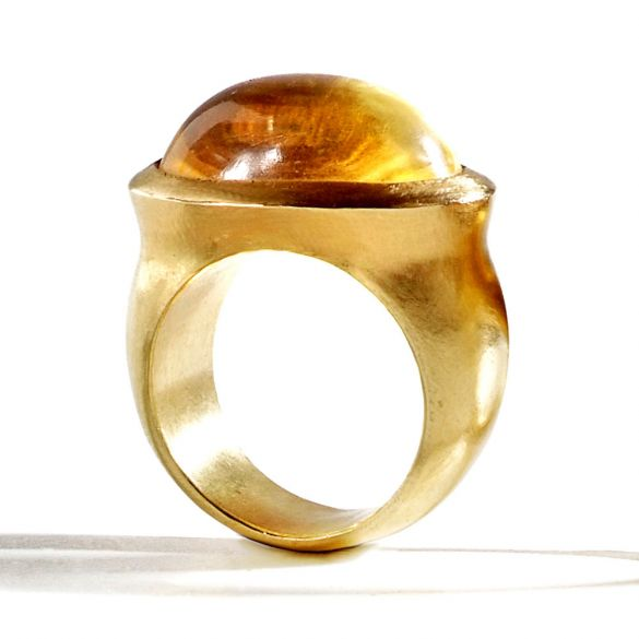 Oval Citrine Cabochon Ring