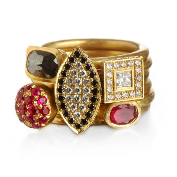 White & Black Diamonds & Ruby 6 Gold Rings Bouquet.