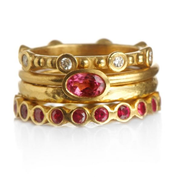 Pink tourmaline & Ruby & Diamonds 4 rings  colorful  Bouquet.