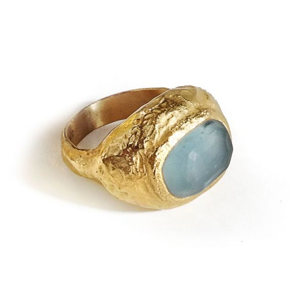 Rough  Aqua Pebble Ring