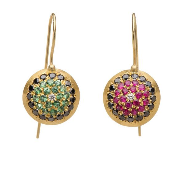 Colorful Pave Dome Earrings