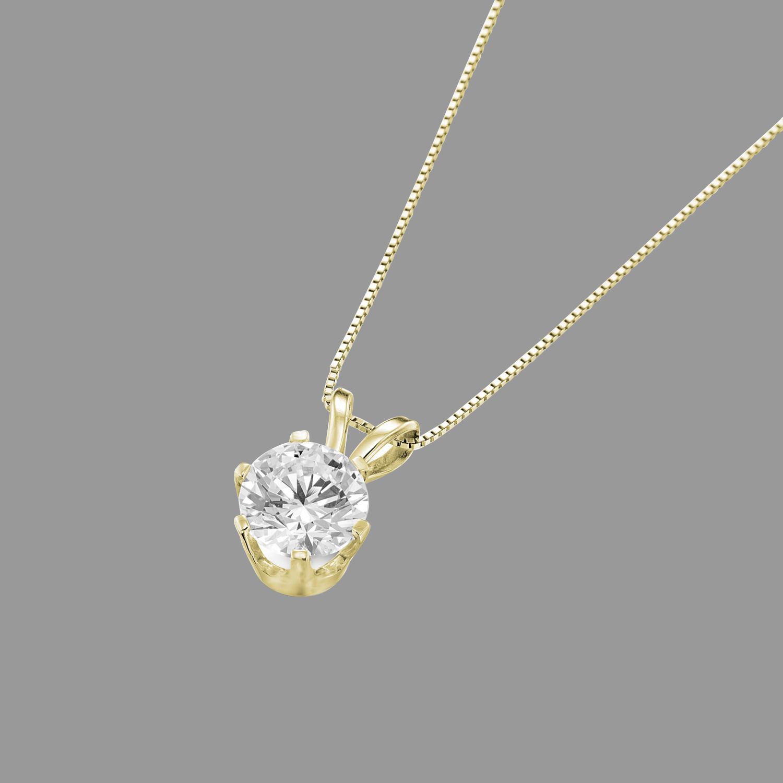 14k Yellow Gold Round Solitaire Enhanced Diamond Pendant Necklace 0 35 Ct D Vs2 Ebay