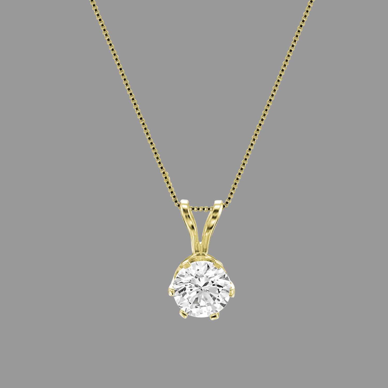 0 75 Ct Round Solitaire Enhanced Diamond Pendant Chain 18k Yellow Gold H Vs1 Ebay