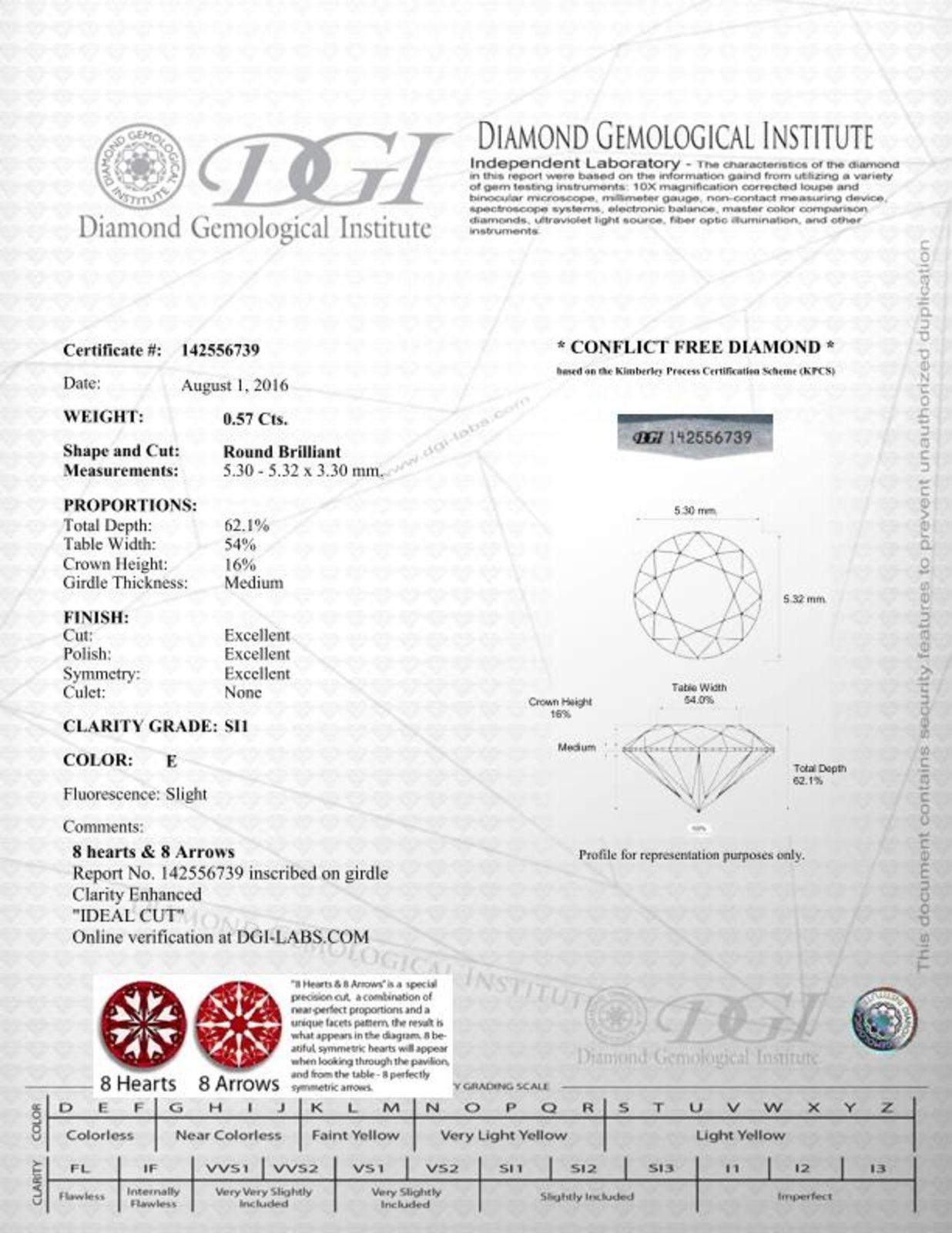 Round Shaped 057 Carat Esi1 Dgi Certified Natural Diamond Enhanced