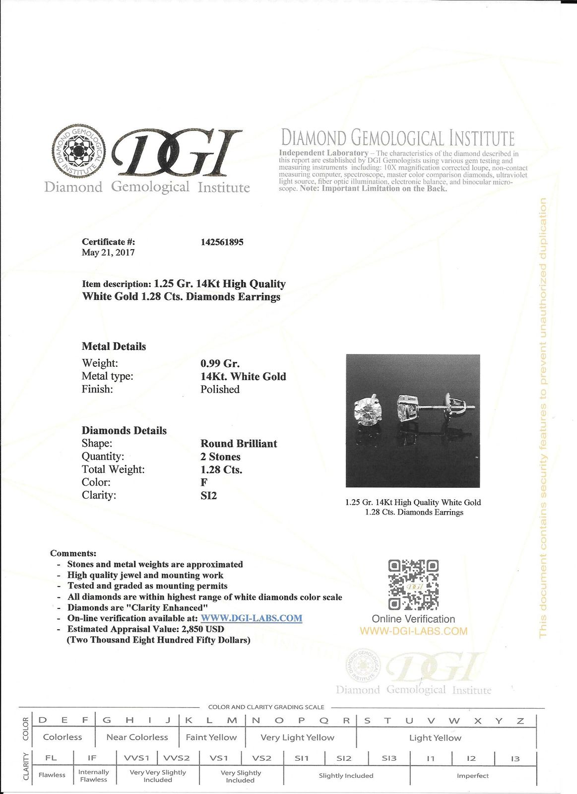 128 ct new round cut diamond stud earrings solid 14k white gold f view images for the real certificate nvjuhfo Gallery
