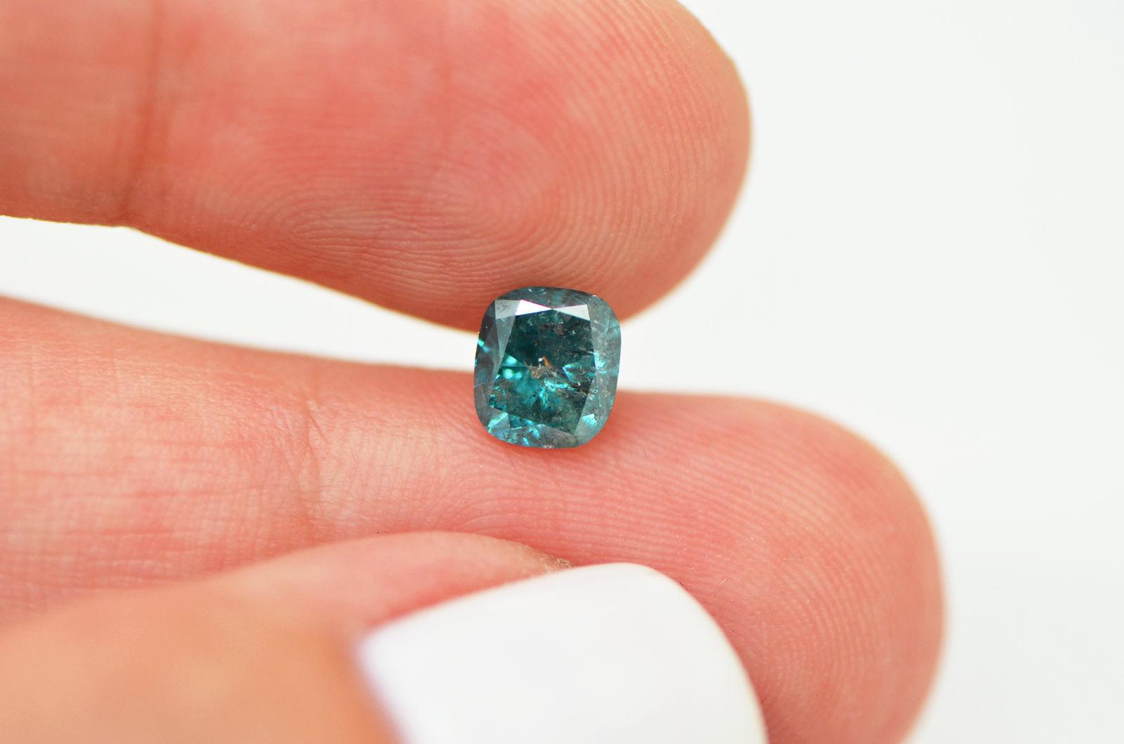 1 Ct Loose Diamond Real Fancy Blue Cushion Enhanced I1
