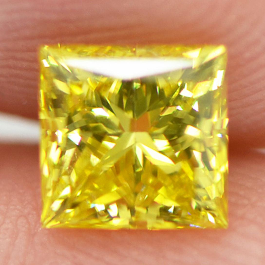 Loose Yellow Diamond Princess Cut Fancy Color 1.05 Carat ...