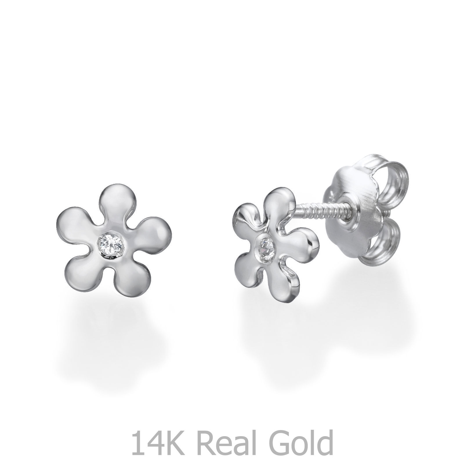 9440661a1 Details about Tiny White Gold Flower 14K Children Earrings Cubic Zirconia  Jewelry Gifts Girl