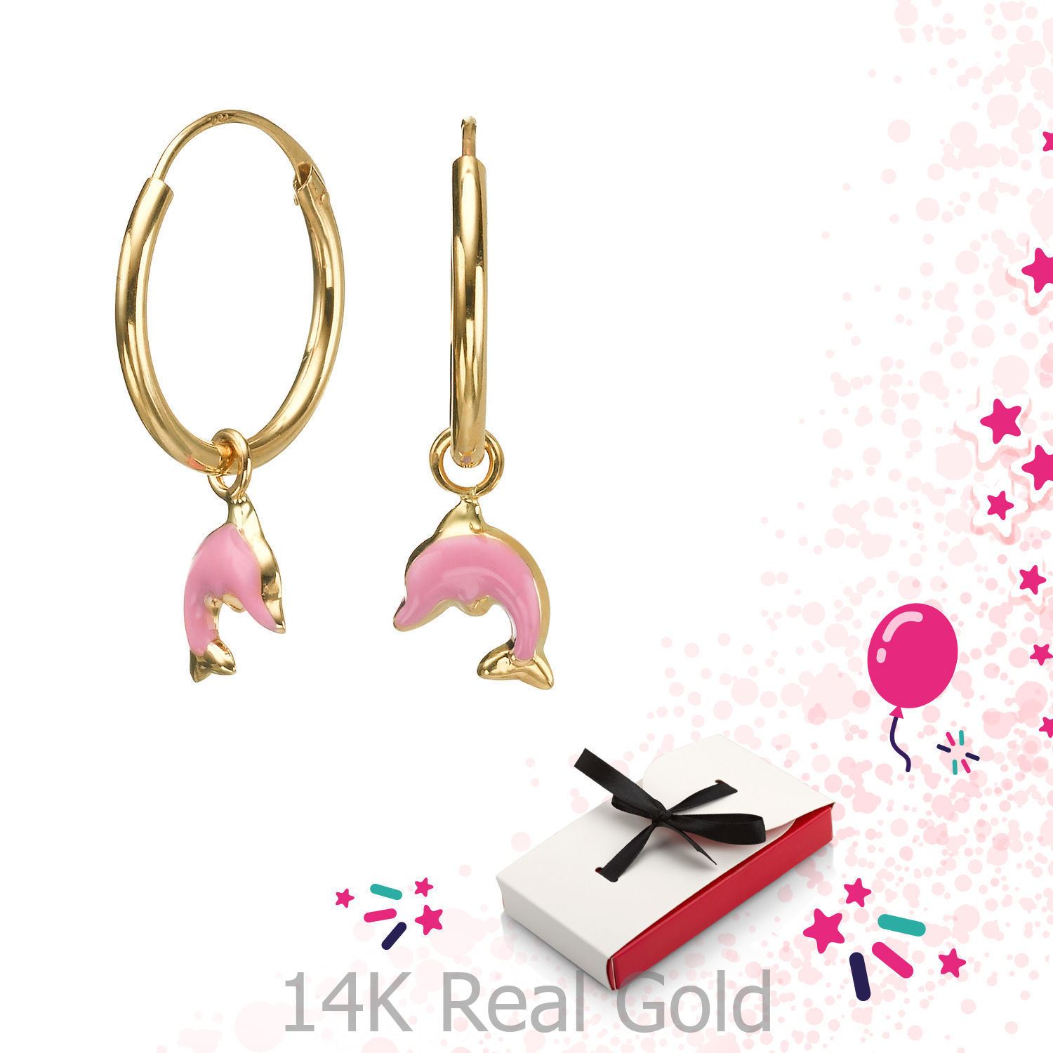14K Solid Yellow Gold Hoop Charm Earrings Animals Dolphin Leap ...