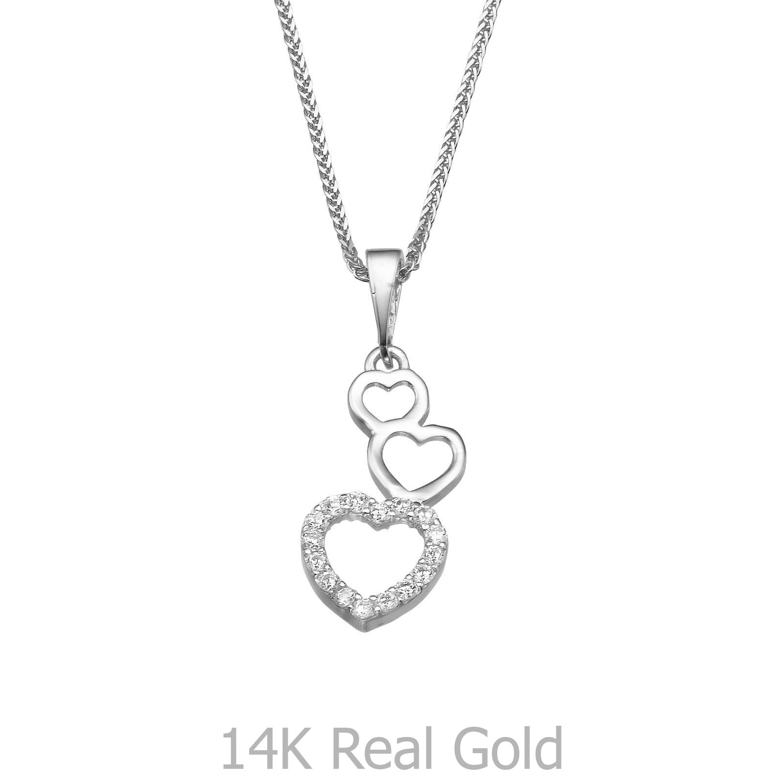 Heart of alma cz pendant for womenteengirls 14k white gold labor sm img aloadofball Images