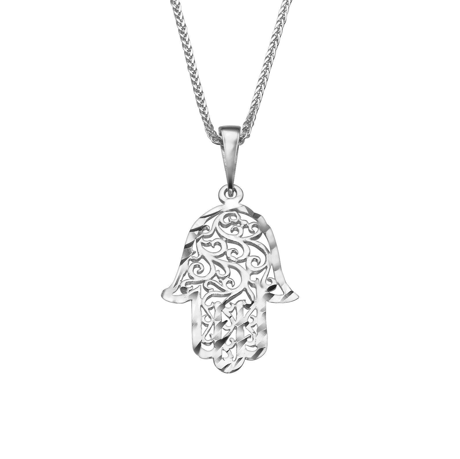 Filigree hamsa hand pendant for womenteengirls 14k white gold no sm img aloadofball Images