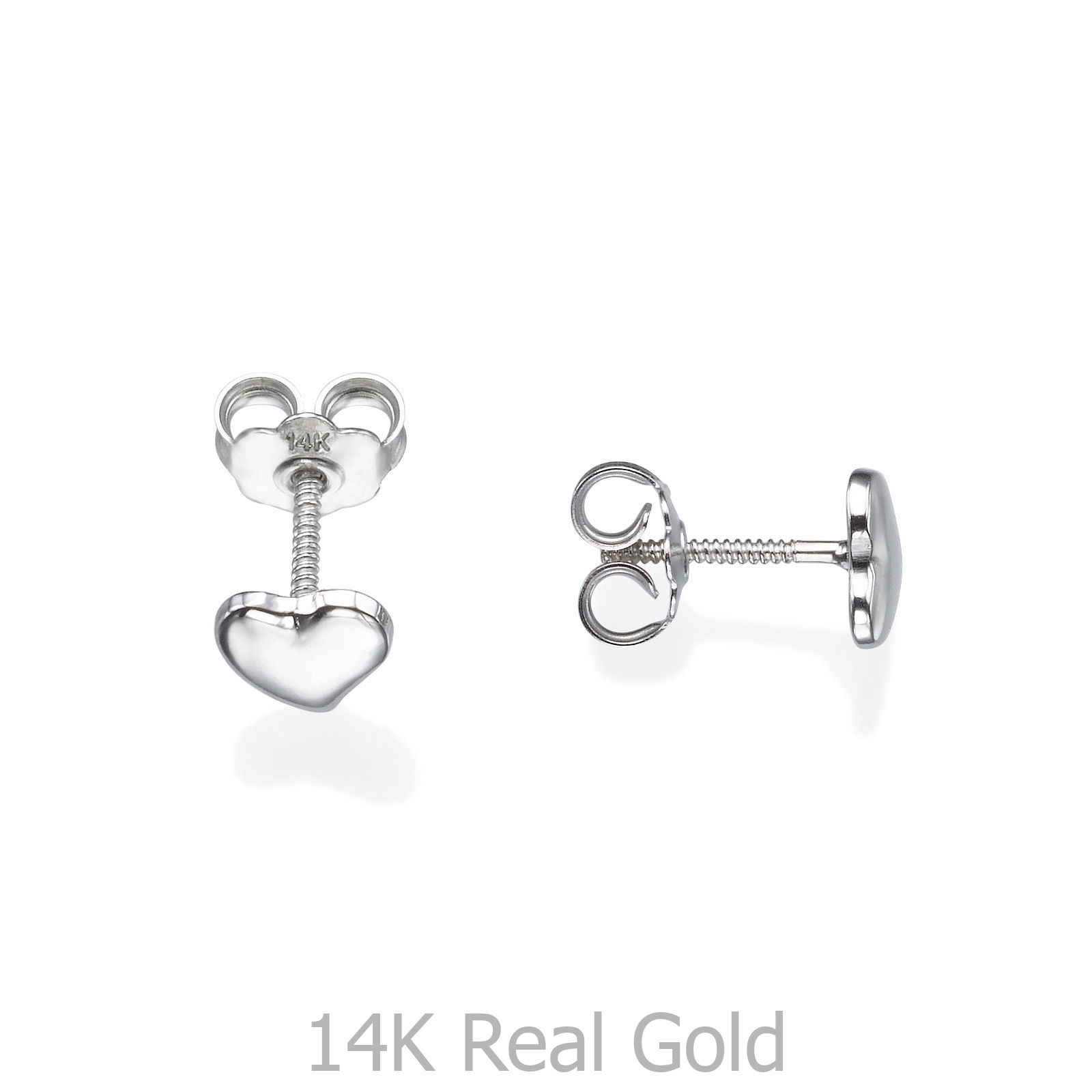 c9a1021aa 14K Gold Studs Heart Baby Earrings Jewelry Valentine Gifts Children ...