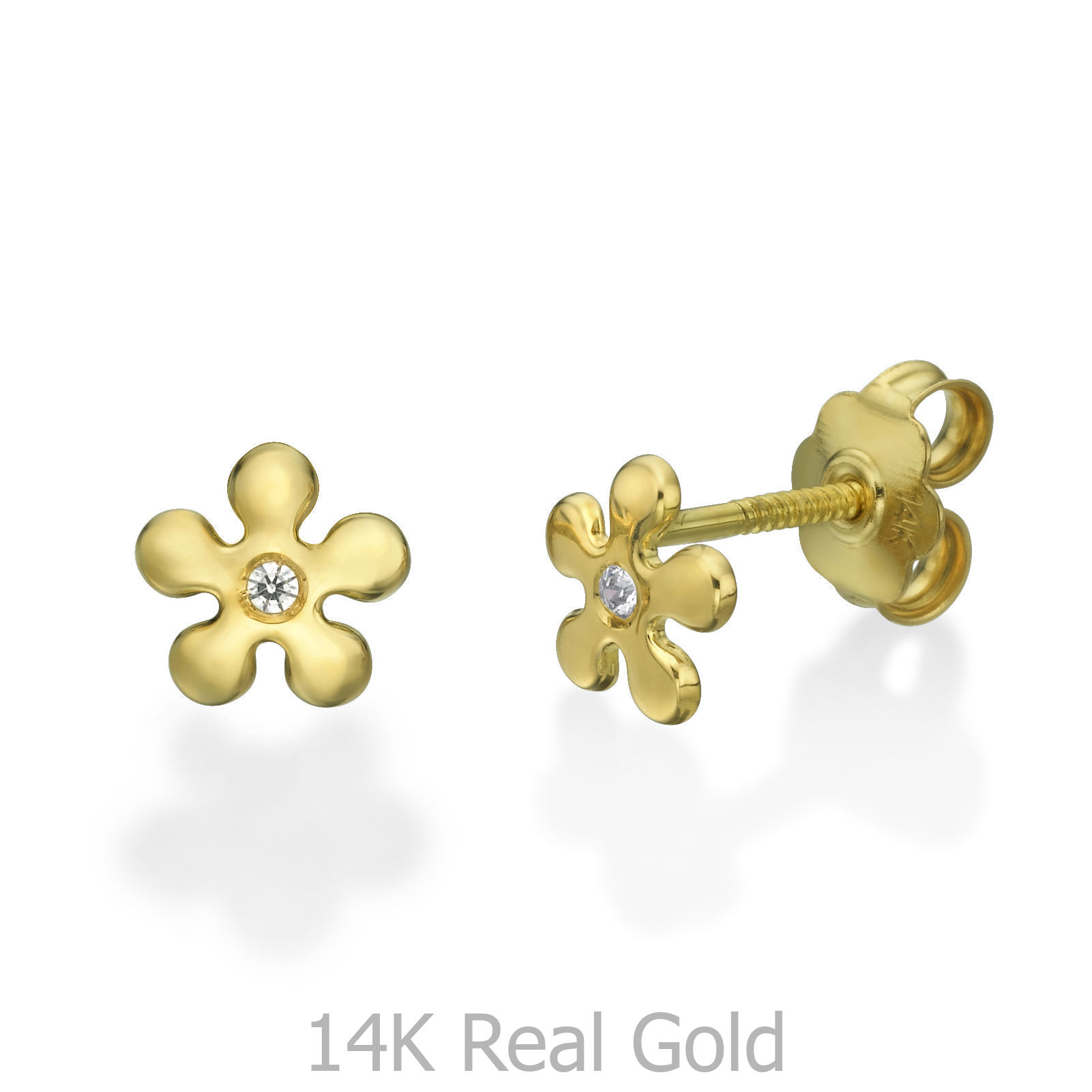 Details About 14k Solid Gold Cubic Zirconia Stud Earrings Flowers Delicate Children Studs Baby