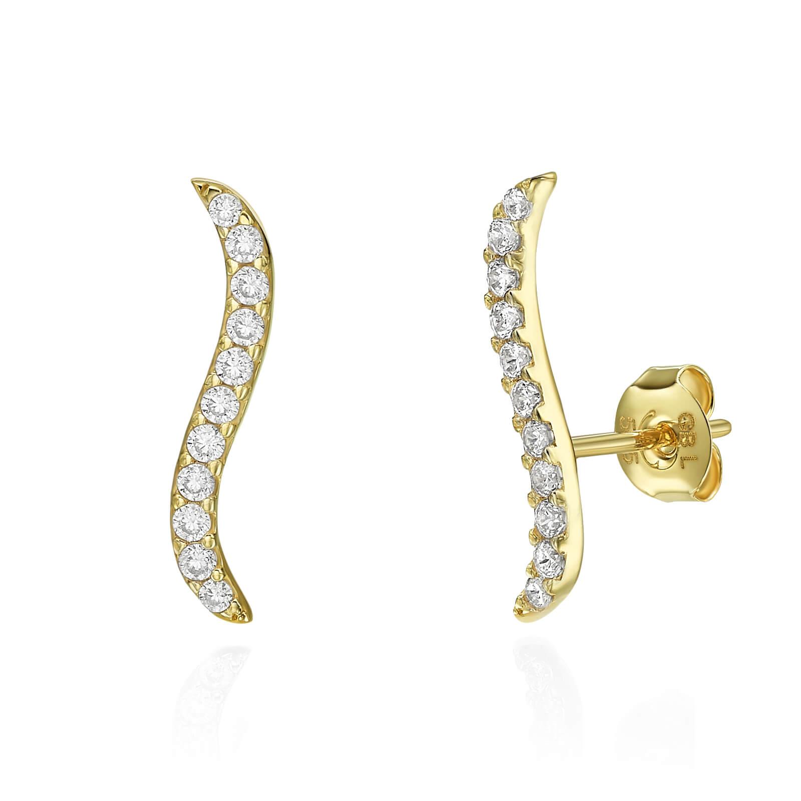 עגילי זהב עם שיבוץ יהלומים