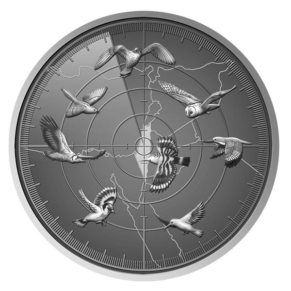 1//2 Oz .999 SILVER Coin The Holy Land Mint LESSER KESTREL Birds of Israel