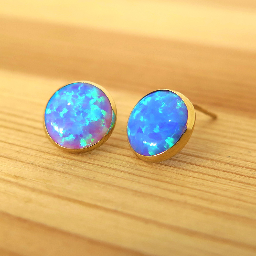 solid gold 14k 8mm blue opal earrings handmade jewelry by. Black Bedroom Furniture Sets. Home Design Ideas