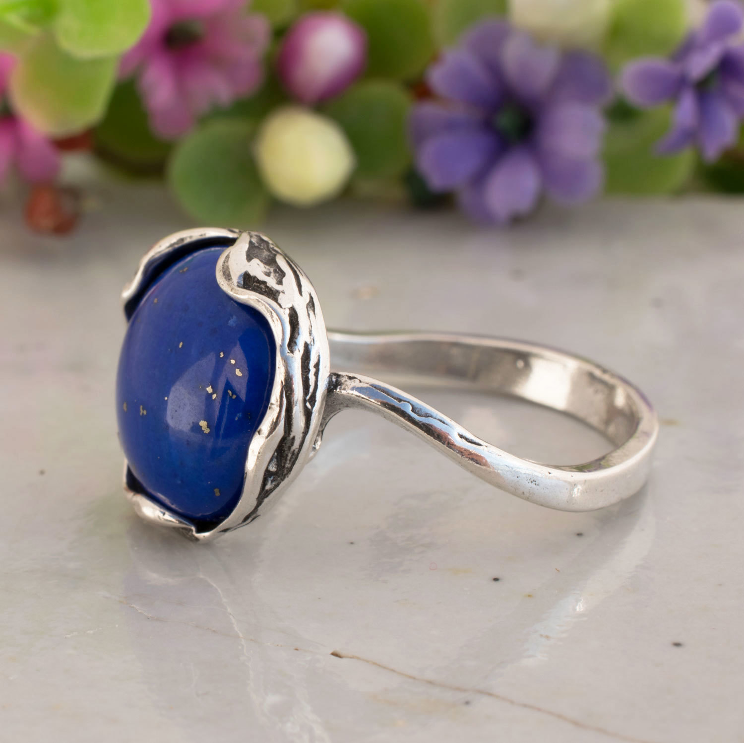 Handmade Jewelry Outstanding Blue Lapis Silver Plated 4 Grams Ring 8.25 US